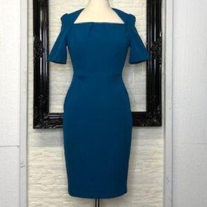 ADRIANNA PAPELL Teal Sheath Dress